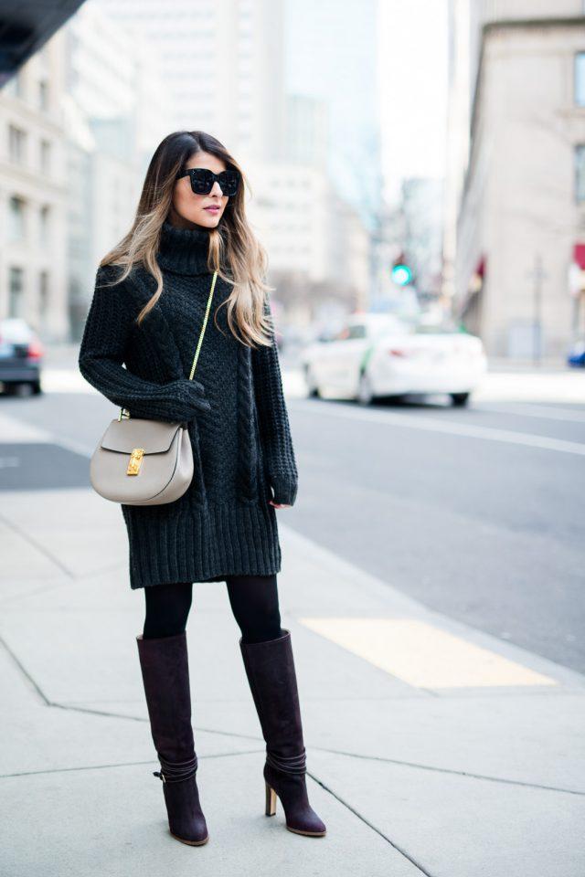 Платье-свитер темно серого цвета