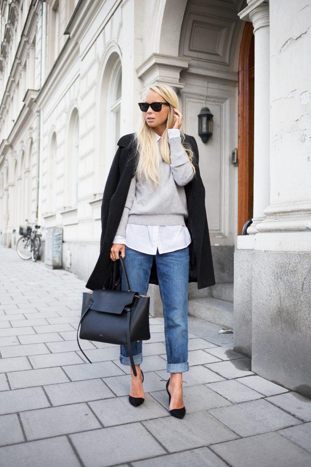 Серый свитер, белая рубашка