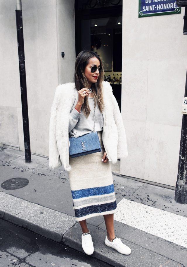 Серый свитер и длинная юбка-карандаш